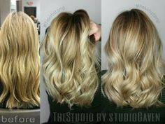 Before and after #blonde #balayage #ombre ♡♡ Done by Kirby Rimmer at TheStudio by StudioGaven
