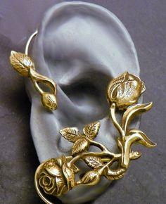 Flower and Leaf  Ear Wrap    ROSES    Brass by SunnySkiesStudio