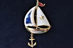 """Vintage 80s Avon Enamel Sailboat Yacht Nautical Statement Brooch Signed Coat Sweater Pin Anchor Charm Retro Costume Jewelry 2.75"""" by DecoOwl on Etsy"""