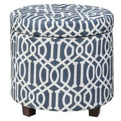 Threshold Round Tufted Storage Ottoman - Blue I Target