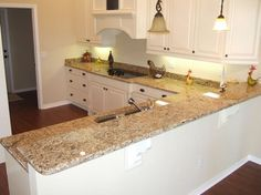 Cabinet Color/Backsplash/Paint Color Help with Venetian Gold venetian gold granite with white cabinets | Style and Design for a Family Home