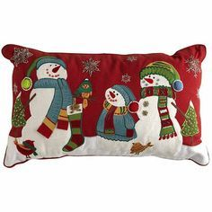 Snowman Family Pillow---Pier 1 Imports---future home Christmas Fonts, Christmas Applique, Christmas Sewing, Christmas Crafts, Christmas Decorations, Christmas Cushions, Christmas Pillow, Christmas Stockings, Christmas Fair Ideas