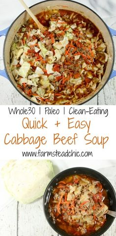 This Paleo & Cabbage Beef Soup, packed with loads of vitamin C, fiber and protein, will warm your bones while healing your body + soul this winter. All clean eating ingredients are used for this healthy soup recipe. Pin now to make this easy recipe later. Whole 30 Soup, Whole 30 Diet, Paleo Whole 30, Whole 30 Recipes, Whole 30 Beef Stew, Easy Cabbage Soup, Cabbage And Beef, Paleo Soup, Dinner Ideas