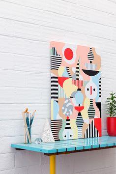 Way better way to adore the art. Small Canvas Art, Canvas Artwork, Abstract Canvas, Painting Inspiration, Art Inspo, Posca Art, Arte Pop, Geometric Art, Art Decor