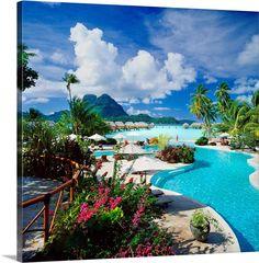 Large Solid-Faced Canvas Print Wall Art Print entitled French Polynesia, Bora Bora Pearl Beach Resort and Spa