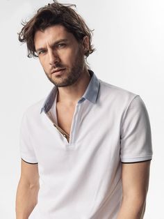 Spring summer 2017 Men´s POLO SHIRT WITH SHIRT COLLAR DETAIL at Massimo Dutti for 19.95. Effortless elegance!