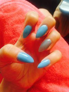 Baby blue grey stiletto acrylic nails