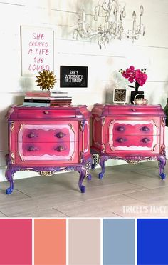 Dixie Belle Peony, Flamingo, Soft Pink, Blueberry & Cobalt Blue Ombre Color blending with 5 chalk pa Whimsical Painted Furniture, Pink Furniture, Painted Bedroom Furniture, Chalk Paint Furniture, Colorful Furniture, Furniture Ideas, Girls Princess Bedroom, Pink Princess, Pink Nightstands