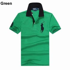 Ralph Lauren Custom Fitted Big Pony Contrast Collaer Polo Shirt Green