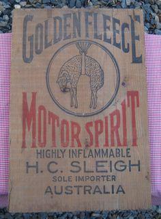 Golden Fleece oil crate box end Australian Cars, Enamels, Retro, Design Crafts, Vintage Signs, Tins, Bowser, Crates, Advertising