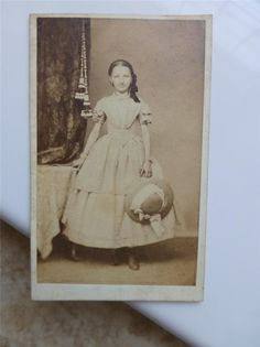Old CDV Photo Civil War Era Teenage Girl Pretty Crinoline Fashion Holds Hat 1860 | eBay