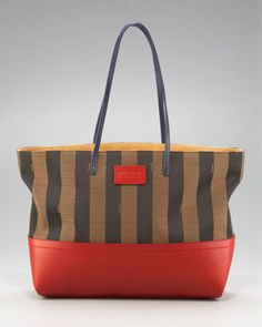 Striped Roll Tote, Red by Fendi at Bergdorf Goodman.