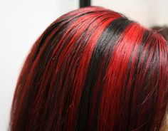 Very Bright Red highlights Red Hair With Blonde Highlights, Hair Color Streaks, Hair Dye Colors, Bright Red Highlights, Highlights 2014, Blonde Hair, Red Hair Inspo, Dye My Hair, Aesthetic Hair