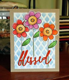 Blessed multi flowers card