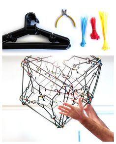 ReFab Diaries: Upcycle: Cable Ties, zipped up! Hanger Crafts, Tie Crafts, Easy Diy Crafts, Recycled Decor, Recycled Crafts, Sewing Art, Sewing Crafts, Tie Hanger, Plastic Hangers