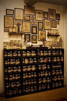 Apothecary cabinet and framed art on the wall. Cabinet Of Curiosities, Kitchen Witch, Interior Modern, Decoration, My House, Herbalism, Interior Decorating, Sweet Home, Herbs