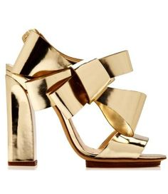 Metallic Leather Bow Detail Sandals//