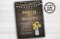 Rustic Bridal Shower Invitation Sunflowers Wood String Lights Sunflowers Personalized Printable Mason Jar Wedding Country Romance Download