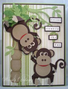Twin Monkeys by Wdoherty - Cards and Paper Crafts at Splitcoaststampers