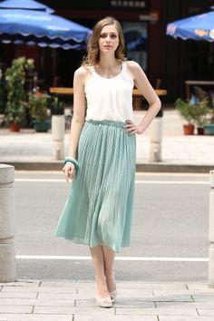 Sweet Beautiful Green Chiffon Skirt