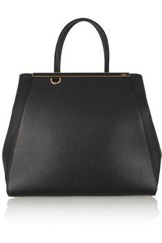 Fendi|2Jours large textured-leather shopper|NET-A-PORTER.COM