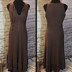 SZ 10 BOSTON PROPER BOHO MAXI DRESS This beautiful cotton gauze like dress is fully lined and has beadwork at the waist along with a darling ruffled hem and side zip. There is one loose bead shown in pic but otherwise gently used. HIC-2 Boston Proper Dresses Maxi