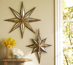 Large Star on gallery wall.