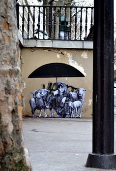 "New work from Levalet - ""Pastorale (The Shepard)"" - Paris, France - Jan 2015"