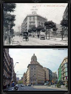 Calle de Pelai, Barcelona. Foto antigua: Principios del siglo XX / Foto actual: 2004. Ciutat Vella » Fotosdebarcelona.com