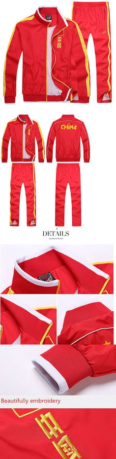 Other Racquet Sport Clothing 70903: 2015 China Red Men Sportswear Embroidery Flag Sportswear Clothing Jacket BUY IT NOW ONLY: $40.5