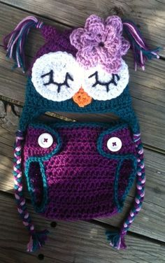 Newborn Baby Girl Sleepy Crochet OWL Purple n Teal Diaper Cover -n- Beanie Hat Set -- Cute Photo Prop. $30.00, via Etsy.