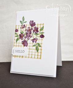 Creating a gingham background is so easy with the line stamp in the photopolymer…
