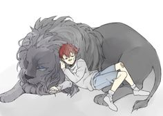 Trip and his allmate lion