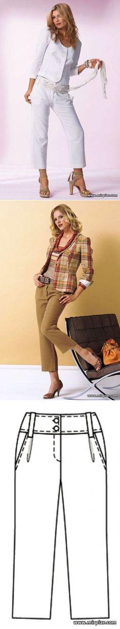 'MirPiar.com' - Справочно-информационный портал. Донецк - Каталог файлов.Укороченные брюки длиной 7/8 со складками у пояса и карманами 'хулиганы'. Готовые выкройки бесплатно в натуральную величину в шести размерах