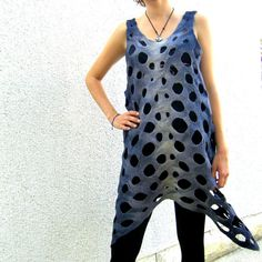 Felted Dress Tunic Sleeveless With Holes Lattice by silkshop