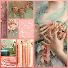Peach and mint Love Collage, Color Collage, Beautiful Collage, Sweet Little Things, Mood Colors, Everything Pink, Colour Board, Color Rosa, Color Of Life