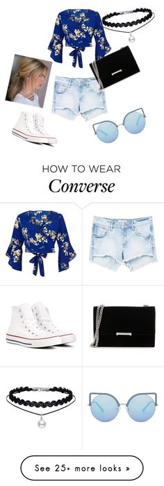 """""""Summer • Blue crop top"""" by thelittleprincesse on Polyvore featuring MANGO, River Island, Matthew Williamson, Converse and Ivanka Trump"""