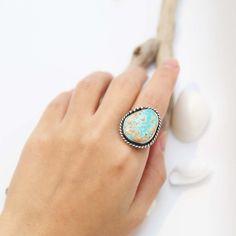 Light Brown Royston Turquoise Ring - US Size 7.5 beautiful natural Royston turquoise with amazing gold matrix. #turquoise #gypsy #boho