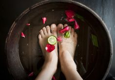 DIY BEAUTY: 3 Easy to make Foot Soaks for less than $2 Each!1)HYDRATE: Olive Oil, Honey & Milk Foot Soak     Mix together 2 tablespoons of honey with 1/4 cup of olive oil. Add 1/2 cup of milk to the mixture and pour into your foot spa or basin containing your hot water.