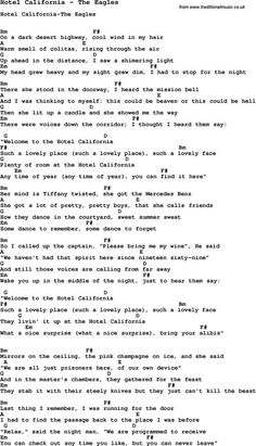Song Hotel California by The Eagles, with lyrics for vocal performance and accompaniment chords for Ukulele, Guitar Banjo etc.