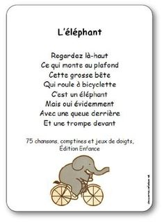 Chanson à gestes L'éléphant, comptine éléphant Teaching Language Arts, Teaching Music, Teaching Kids, French Language Lessons, French Lessons, French Teaching Resources, Teaching French, Kindergarten Poetry, Elmer The Elephants