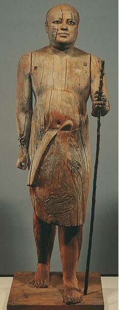 Portrait statue of Ka-Aper, from his mastaba at Saqqara, Egypt, Fifth Dynasty, ca. 2450-2350 BCE. Wood with rock crystal eyes, 3′ 7 1/4″ high. Egyptian Museum, Cairo. (Love seeing underside of Egyptian painted figures, which are covered with thin layer of plaster, then painted).