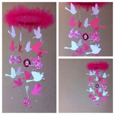 Could not resist but to make a mini version of this mobile, LOVE at first sight . Mini Birds Mobile by MadeByKatee on Etsy, $45.00