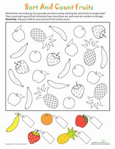 How many different kinds of fruit do you see? Help your child learn to sort and count objects with a fun coloring activity.