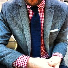 Checkered shirt, blue tie, and grey sports jacket #menswear: