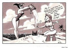 Harley Quinn and Ivy burying Batman in the sand