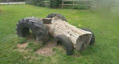 A few old tires amd a log will have lasting memories.