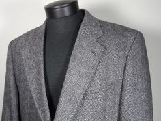 Savile Row Mens Size 44 Short Herring Bone 100% Wool Blazer Black Light Gray  #Clothing #Shopping #eBay http://r.ebay.com/t0zlDq via @eBay