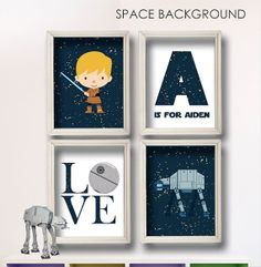 Star Wars Wall Art Personalized Letter and Name set by StarWarsPrintShop, $32.00 GET IT HERE: https://www.etsy.com/listing/178849173/star-wars-wall-art-personalized-letter