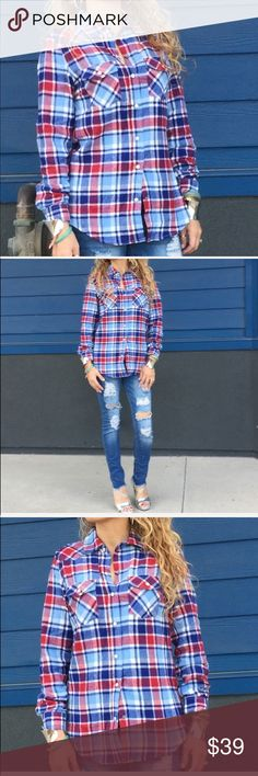 New red and blue flannel long sleeve top size M New in package , flannel , snap buttons , jeans available too Tops